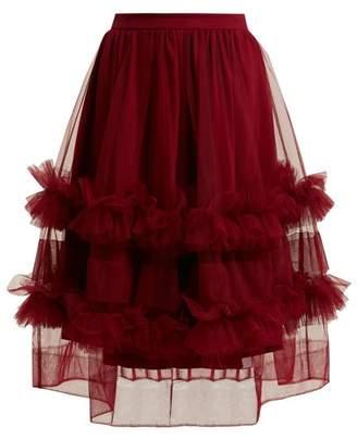 Molly Goddard - Akuac Ruffled Tulle Midi Skirt - Womens - Burgundy