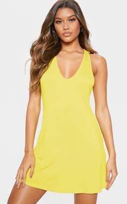 9556890e0806 PrettyLittleThing Orange Jersey V Plunge Sleeveless Shift Dress