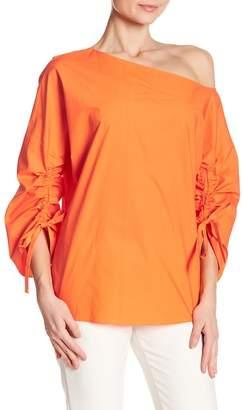 Tibi One Shoulder Ruched Sleeve Blouse