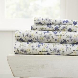Noble Linens Premium Ultra Soft Blossoms Pattern 4 Piece Bed Sheets Set