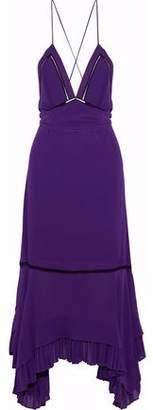 Derek Lam Open-back Pleated Silk Crepe De Chine Midi Dress