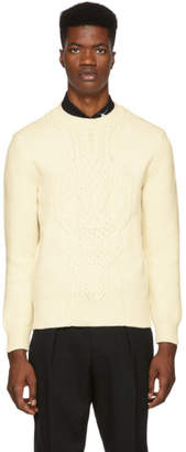 Alexander McQueen White Skull Cable Sweater