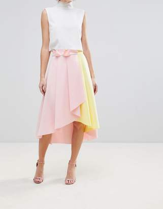 Asos (エイソス) - ASOS DESIGN ASOS Scuba Prom Skirt with Wrap and Color Block Detail