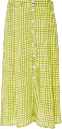 Faithfull The Brand Marin Checked Crepe Midi Skirt