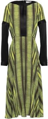 Amanda Wakeley Chiffon-paneled Printed Silk Crepe De Chine Midi Dress