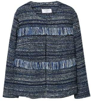 Violeta BY MANGO Fringed tweed jacket