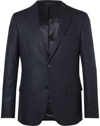 Officine Generale Midnight-Blue Herringbone Cashmere Blazer