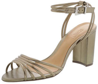 Schutz Nicolai Strappy Metallic Block-Heel Sandals