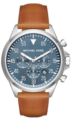 Men's Michael Kors 'Gage' Chronograph Leather Strap Watch, 45Mm $250 thestylecure.com