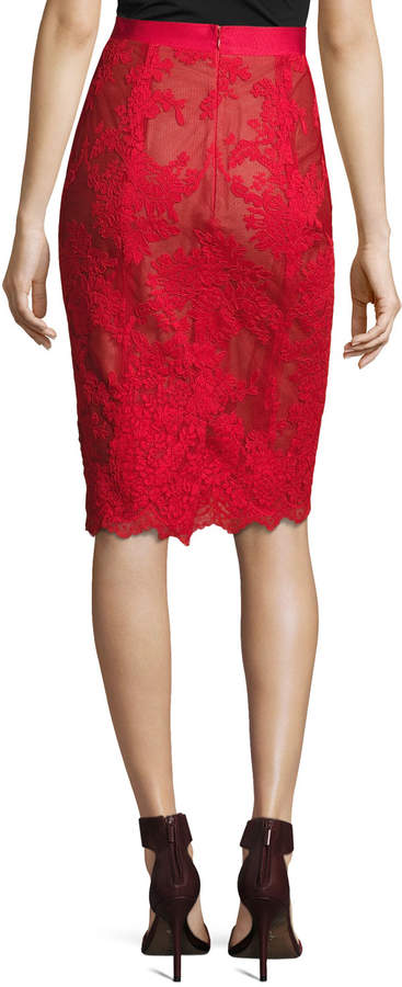 Marchesa Corded Lace Pencil Skirt