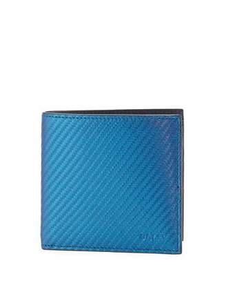 Bally Iridescent Leather Bi-Fold Wallet, Blue $275 thestylecure.com