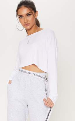 PrettyLittleThing White Long Sleeve Rib Crew Neck Top