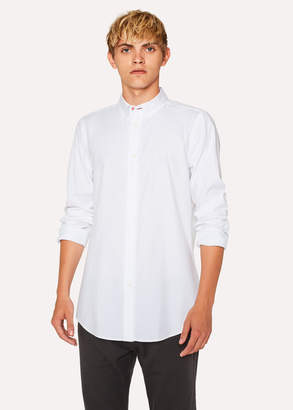 Paul Smith Men's Tailored-Fit White Button-Down Cotton Shirt With Contrast Cuff Lining