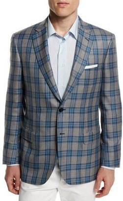 Brioni Plaid Two-Button Cashmere-Blend Jacket, Gray/Light Blue $5,575 thestylecure.com