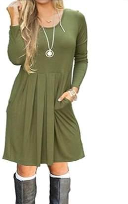 Vska Women's Crew Neck Tunic A-Line Pocket Solid Vogue Party Dress XL