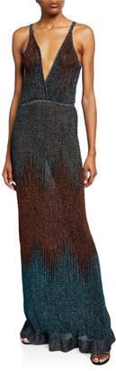 M Missoni Metallic Chevron Sleeveless Long Gown