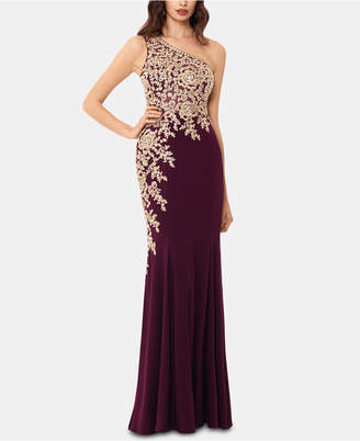 Xscape Evenings Embroidered One-Shoulder Gown
