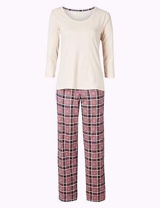 Marks and Spencer Pure Cotton Check Print 3⁄4 Sleeve Pyjama Set