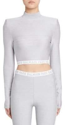 Balmain Back Zipper Cropped Top
