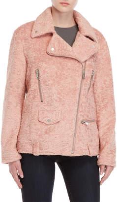 AVEC LES FILLES Pink Faux Fur Biker Jacket