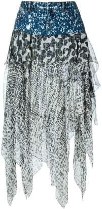 Faith Connexion denim waistband asymmetric skirt