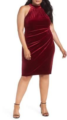 Vince Camuto Draped Velvet Sheath Dress