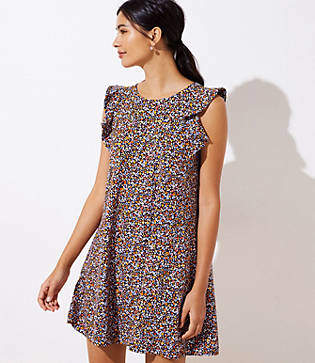 LOFT Floral Flutter Swing Dress