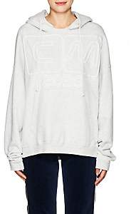 Visitor On Earth Women's Logo Cotton Hoodie-Light Gray