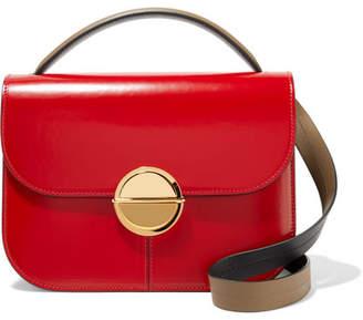Marni Tuk Medium Color-block Glossed-leather Shoulder Bag - Claret