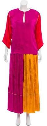 Oscar de la Renta Patterned Structured Skirt Set