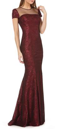 Carmen Marc Valvo Illusion Neck Sequin Trumpet Gown