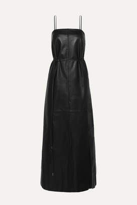 Salvatore Ferragamo Belted Leather Maxi Dress - Black