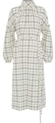 Tibi Belted Checked Wool Cloqué Midi Dress