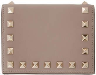 Valentino Pink Garavani Rockstud French Flap Wallet