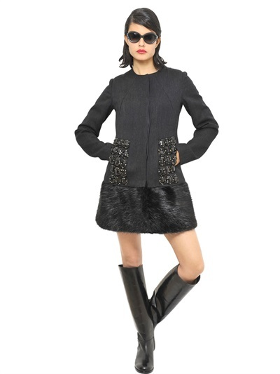 Marni Embroidered Wool And Beaver Fur Coat