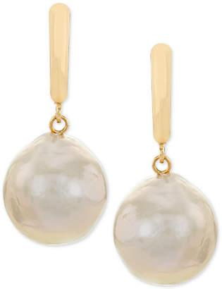 Macy's Cultured Champagne Ming Pearl (12 x 14mm) Drop Earrings in 14k Gold