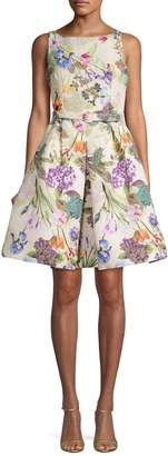 Gabby Skye Pleated Floral Fit--Flare Dress