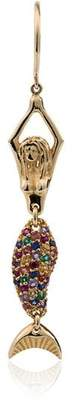 Anton Heunis 18k yellow gold multi stone mermaid earring