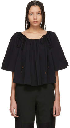 See by Chloe Black Convertible Sleeve Flowy Blouse