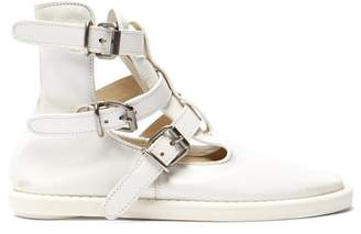 MM6 MAISON MARGIELA Buckled Leather Ankle Boots - Womens - White