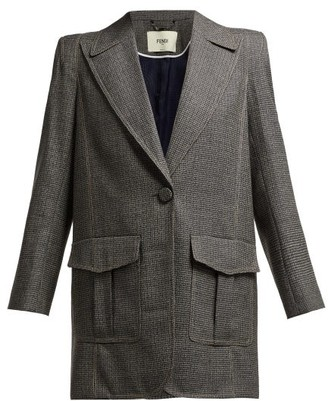 Fendi Houndstooth Virgin Wool Blend Blazer - Womens - Grey Multi
