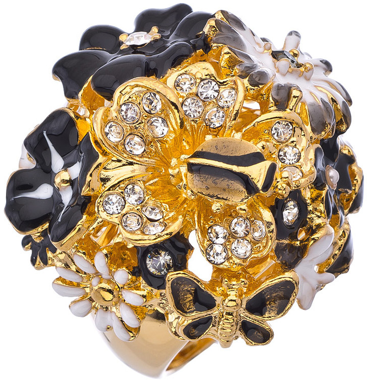 Kenneth Jay Lane Black And White Dome Flower Ring