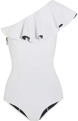 Lisa Marie Fernandez - Arden Ruffled One-shoulder Bonded Swimsuit - White $430 thestylecure.com