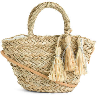 Handmade Small Straw Tote With Shoulder Strap