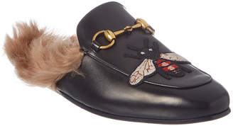 Gucci Princetown Bee Applique Leather Slipper