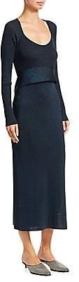 3.1 Phillip Lim Women's Tie-Waist Lurex Rib-Knit Midi Dress
