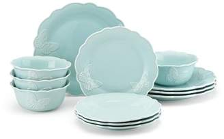 Lenox Meadow Butterfly Carved 12 Piece Dinnerware Set, Service for 4