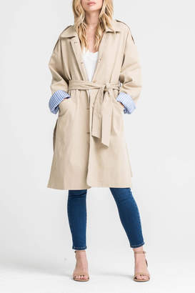 Lush Contrast Trench Coat