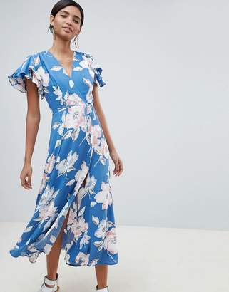 French Connection Floral Wrap Midi Dress