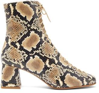 BY FAR Becca Lace Up Python Effect Leather Ankle Boots - Womens - Python